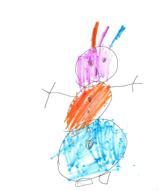 Young Clochie's picture of a snowman